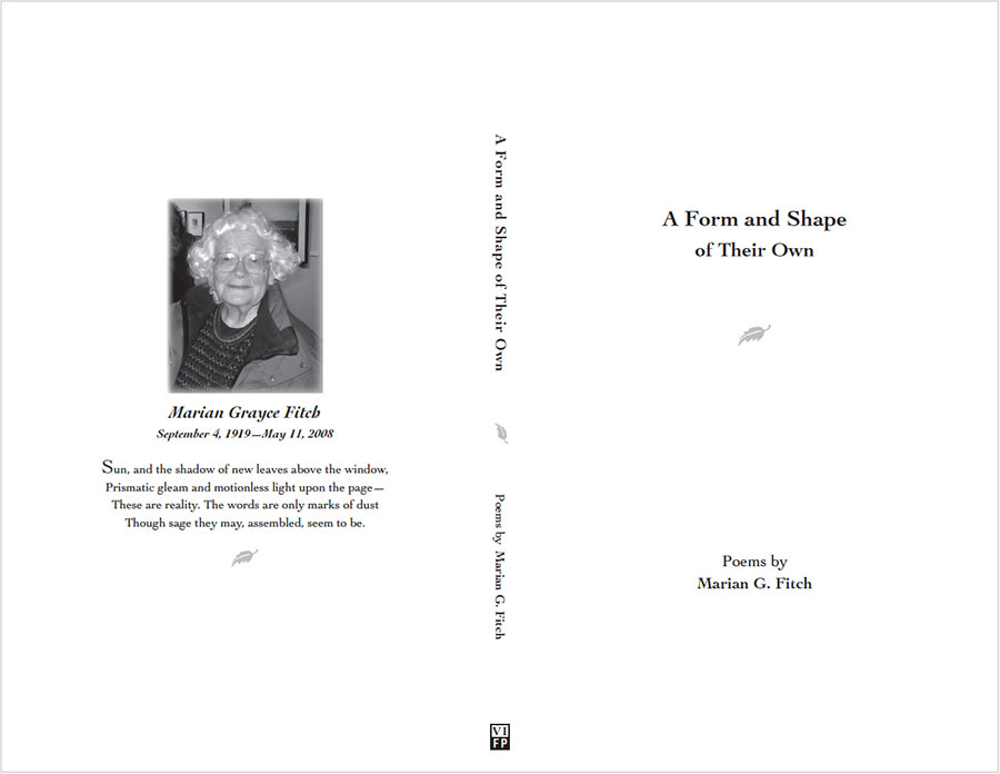 Book of poetry: back, spine & front cover
