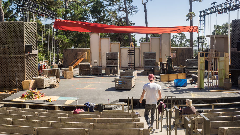 Andrew Marderian (Director of Man of La Mancha 2017) works out the final set design on a warm, bright, Summer day.