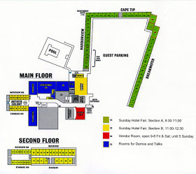 Schematic layout for the Hotel Fair. Green goes first, then yellow