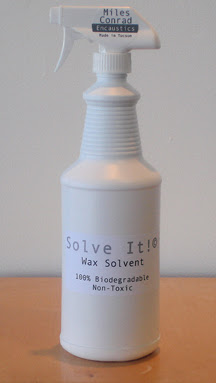 'Solve It,' biodegradable wax solvent--unscented and non-toxic. Cleans tools and work surfaces like magic