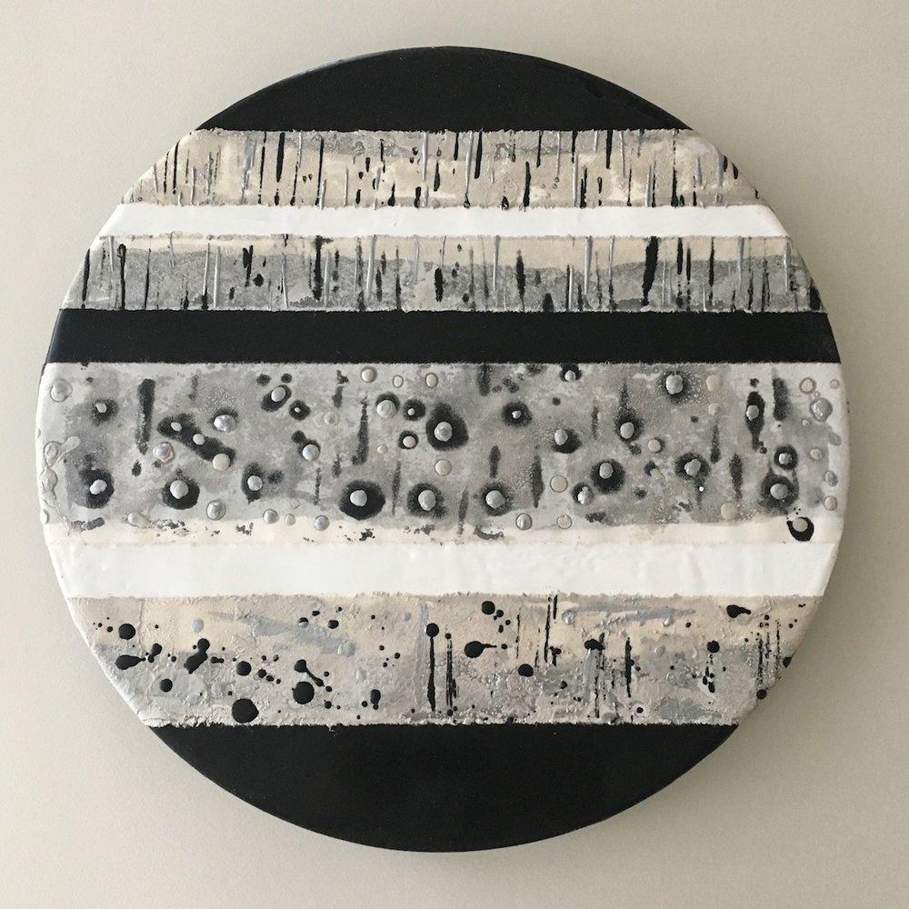 "Dorothy Cochran, Night Sky, pigmented beeswax, encaustic monotype on Kozo on cradled panel, 12"" diameter"
