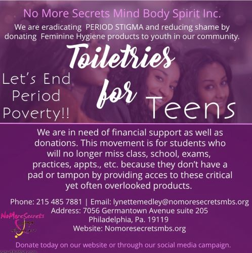 Did you know… - In Philadelphia (and no doubt other cities), young folks are unable to afford BASIC needs like tampons and pads?! Some youth are missing school, exchanging sex, or improvising with clothing to take care of their menstrual needs. THIS IS UNACCEPTABLE. Join us in supporting No More Secrets to #endperiodpoverty