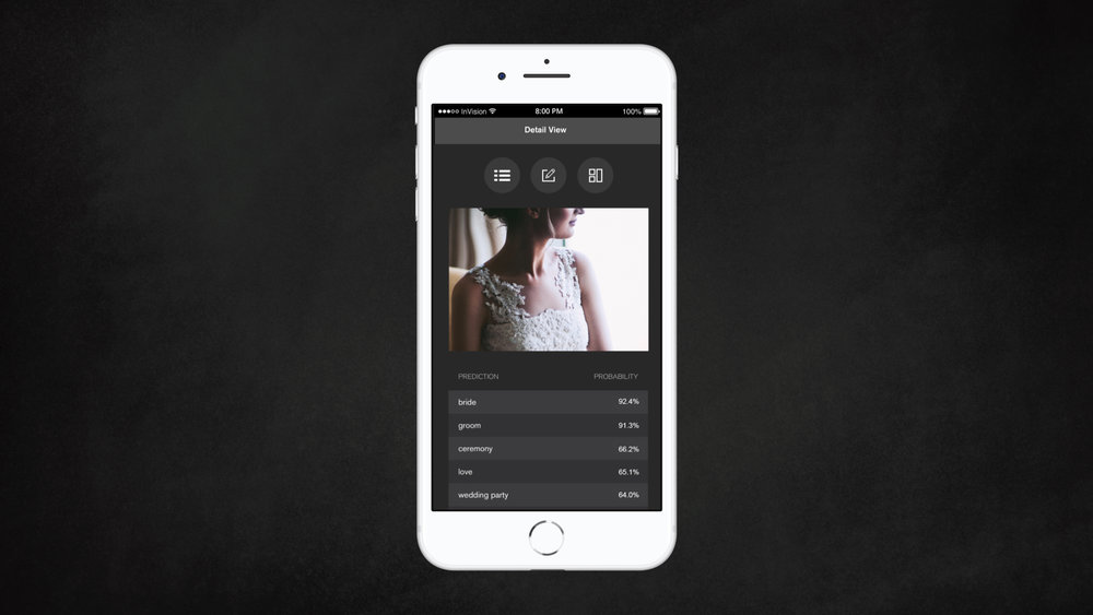 On shoot day, using Canon's Camera Control API, you can fetch images shot with compatible Canon cameras and transfer them to your smartphone via our app.  Then, we utilize Clarifai's API to classify the images with the facial recognition and wedding model, which recognizes over 400 concepts including bride, groom, flowers, and more. This technology is also compatible with 20+ languages.