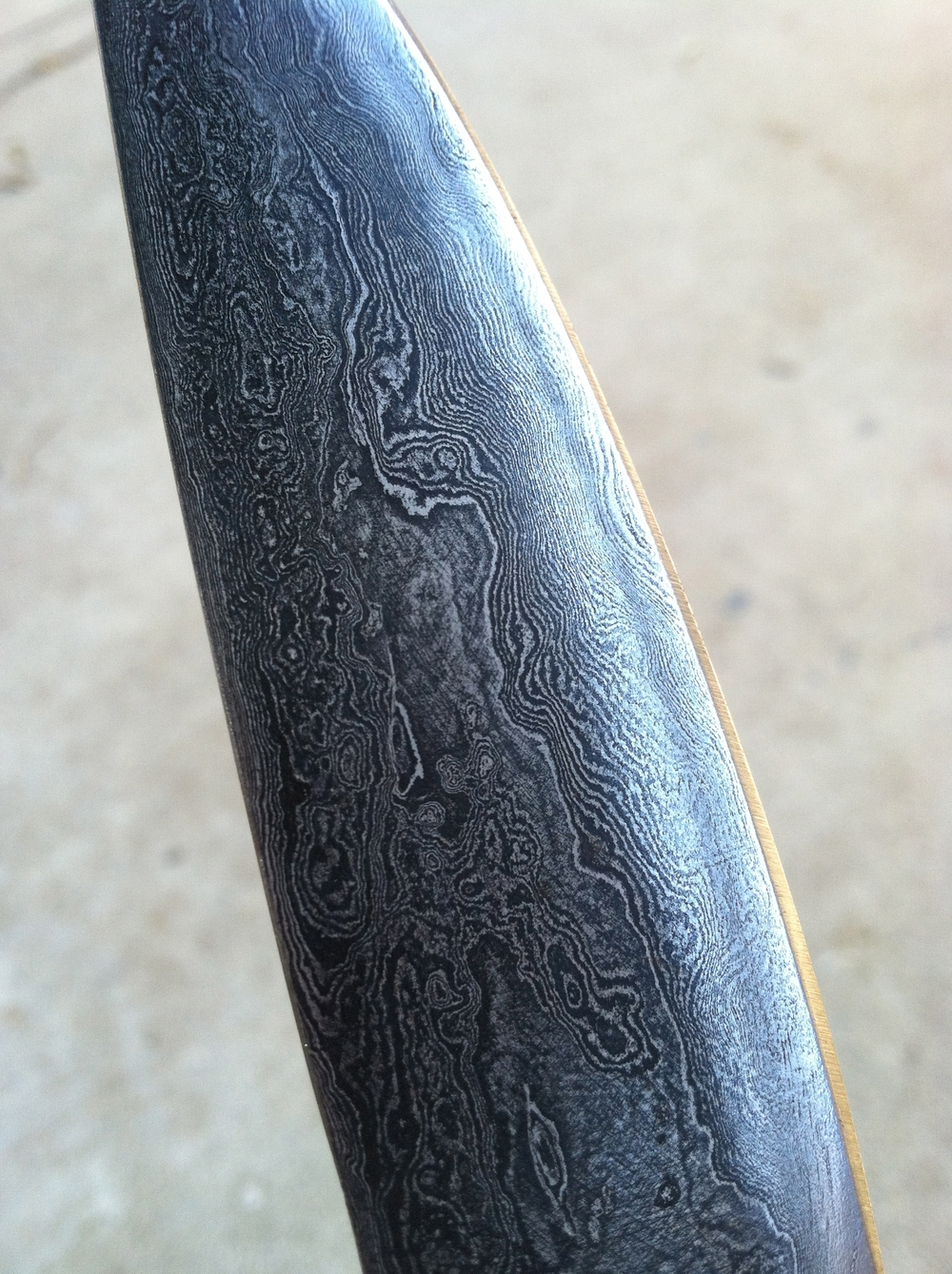 Detail. Damascus Steel Blade
