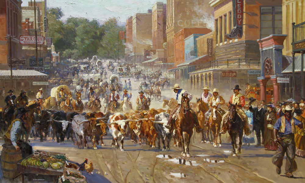 """Arriving Fort Worth (50"""" x 82"""") """"Fort Worth is strategically positioned at the midpoint of many trails, such as the famous Chisholm Trail. This is where the cowboys would get some much-needed rest, stock up on supplies, and find entertainment. I got the inspiration for this painting from the history of the Stock Yard and I created this painting to show my admiration of those who lived in that time and their courage. Through their bravery and hard work, Texas was able to supply about 25% of the entire country's beef reserve. I tried to accurately depict this legacy through this painting - the architecture in this painting can still be seen today! The collector of this painting was born and raised in Fort Worth, and he told me one of the main reasons he treasures this painting is because it shows his great love and admiration for this city. To this day, Fort Worth maintains this legacy of the old Western culture through the famous stock yard and its on-going activities."""""""