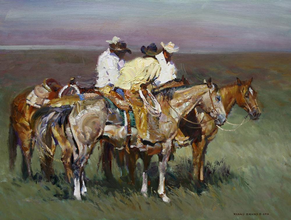 "Cowboys Gossip  32"" x 40"" SOLD"