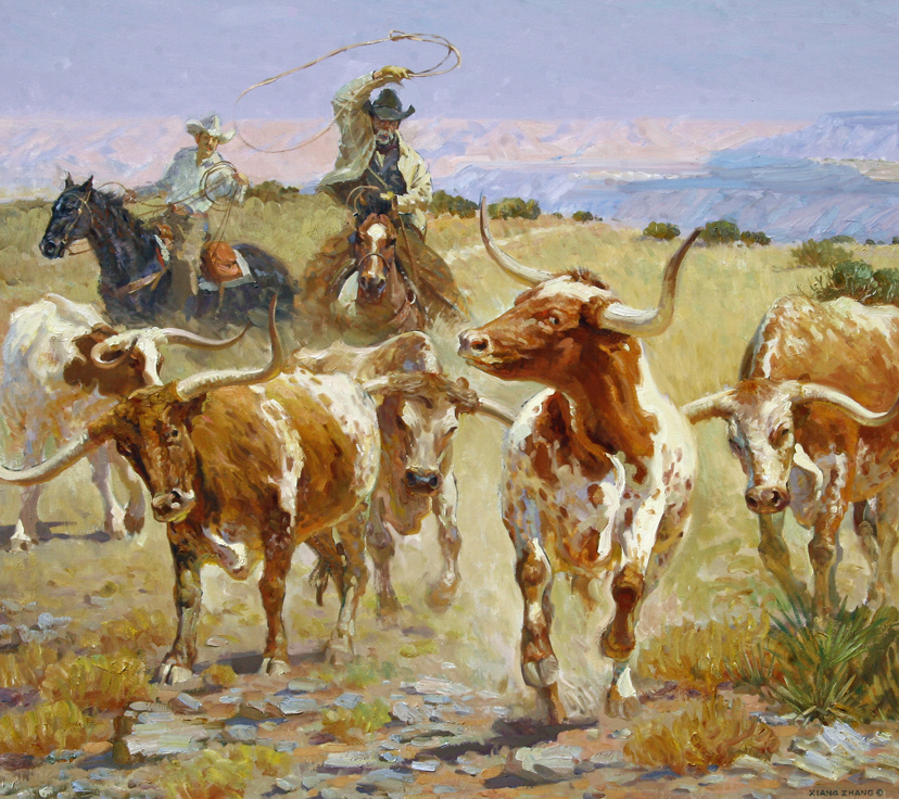 "Showdown on the Range 40"" x 45"" SOLD"