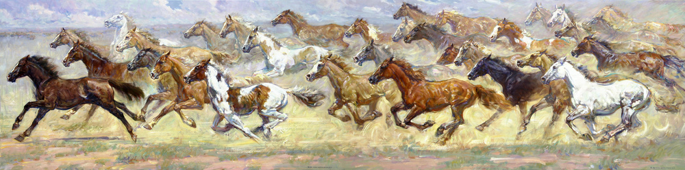 "Galloping 48"" x 192"" SOLD"