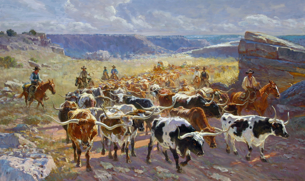 "Longhorns in Palo Duro 48"" x 80"" SOLD"