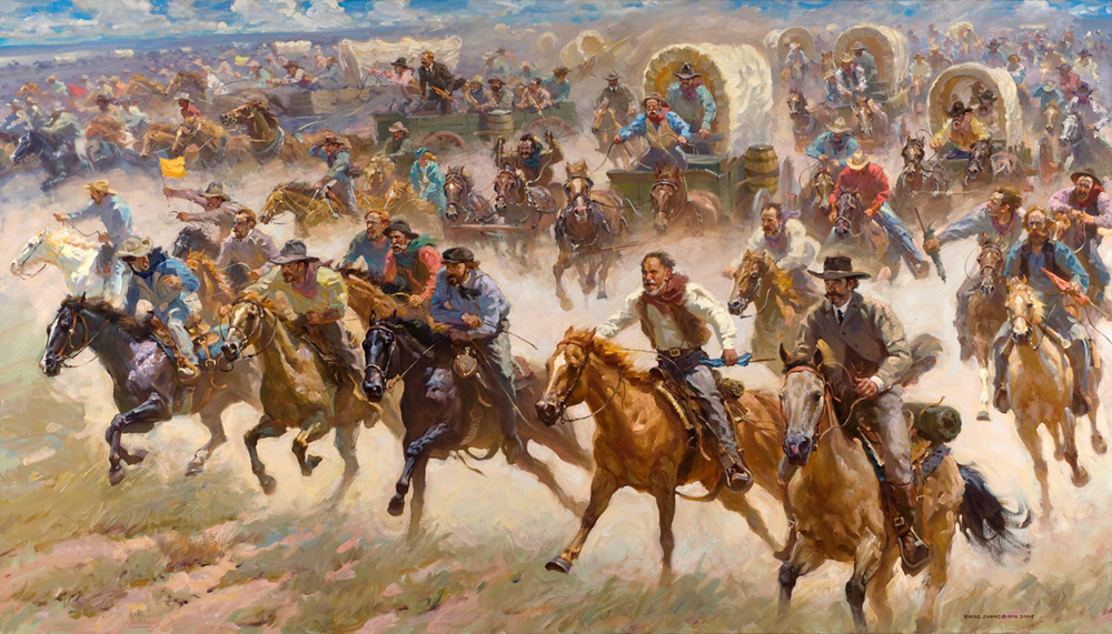 "Oklahoma Land Run 1889 48"" x 84"" SOLD"