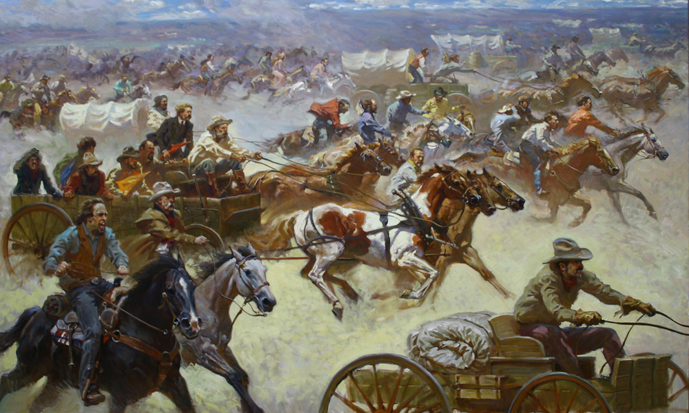 "Oklahoma Land Run 1893 50"" x 82"" SOLD"