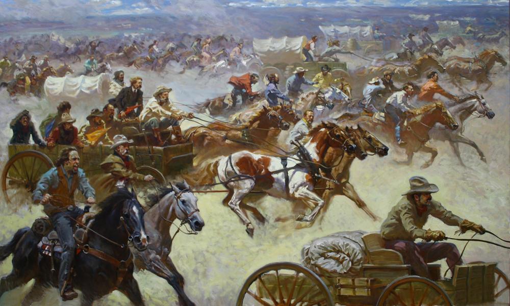 "Oklahoma Land Run 1893 50"" x 82"" SOLD"