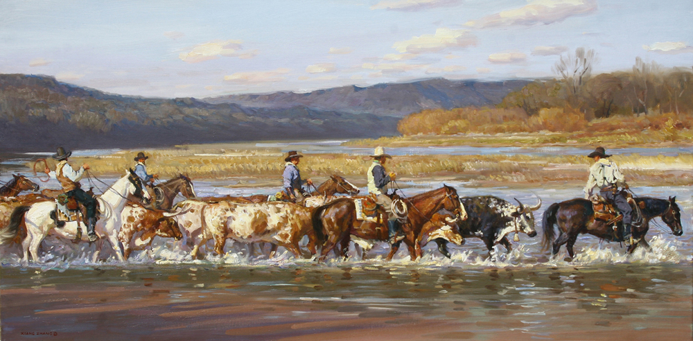 "Red River Crossing 24"" x 48""  SOLD"