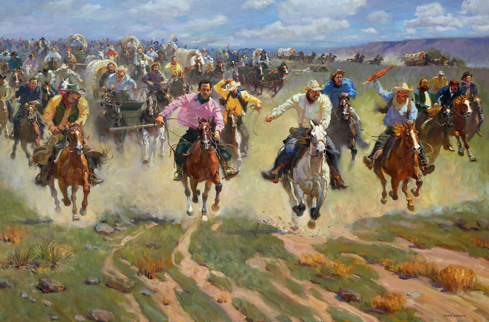"Race to the American Dream (48""x72"")"