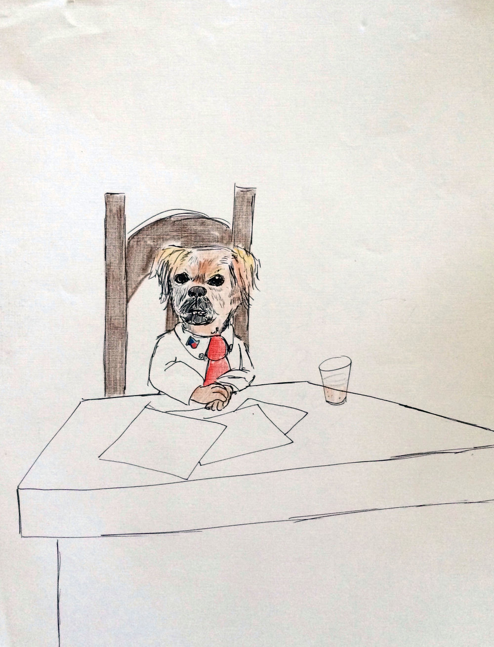 Spike The Dog At Her Table  (date unknown)