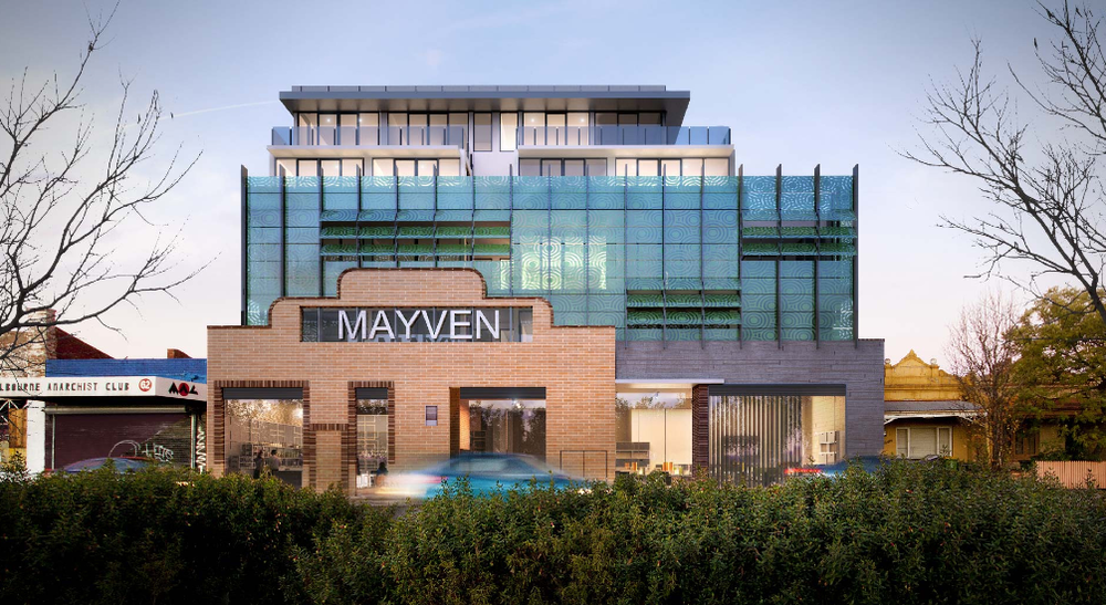 MAYVEN APARTMENTS :: NORTHCOTE  Boasting a unique Art-Deco style façade, Mayven is situated in the eclectic community of Northcote and will offer residents aesthetically beautiful apartments, encompassing the perfect blend of old meets new.  Featuring 32 apartments across six levels and two ground floor retail spaces, Mayven is a collaborative effort between Hub Property Group and MAP Architecture.