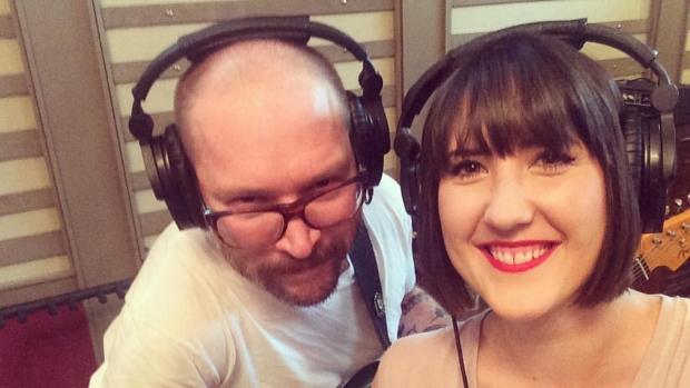 Ellen Doty and Danny Vacon (The Dudes) recording at OCL Studios