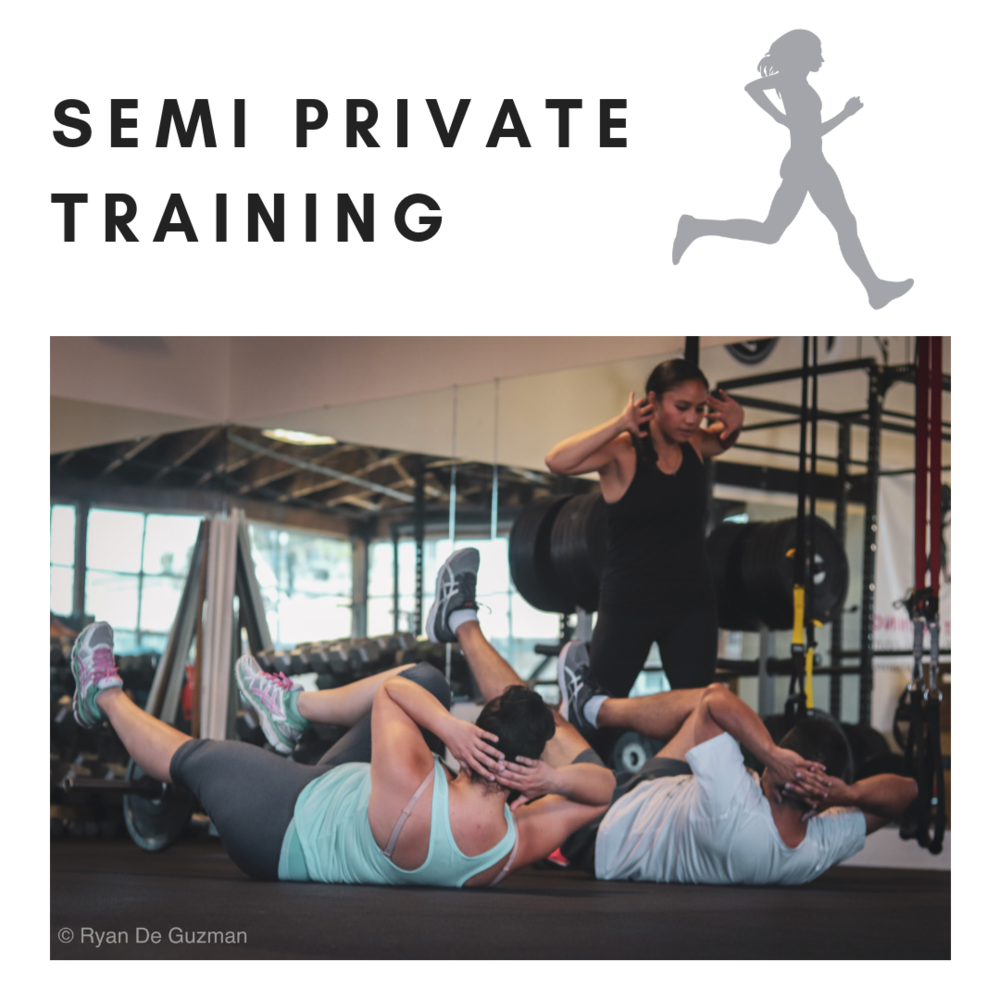 Semi Private Training  combines the individualized benefits of Personal Training with the social and motivational aspect of Group Training.  Here, sessions have between 2-4 clients (max) working on their personal programs within a group setting.   Monthly or Session Packages are available for this Service.