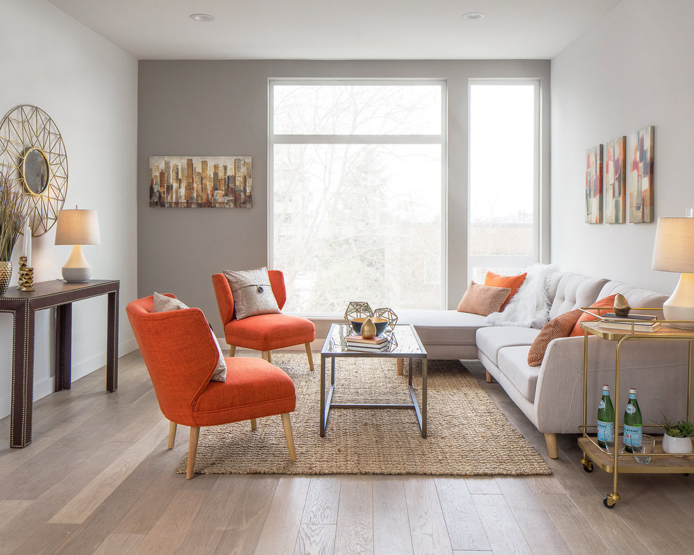 Orange Living Room Window Architecture Seattle House By Spencer Wallace  Photo