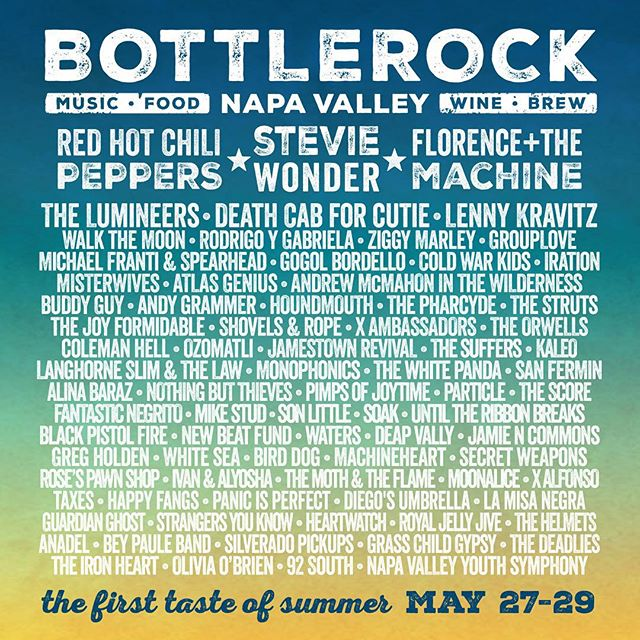 We are thrilled to be a part of @BottleRockNapa this May!! What an amazing lineup!  Tickets will go on sale this Thurs Jan. 7th at 10am PST!