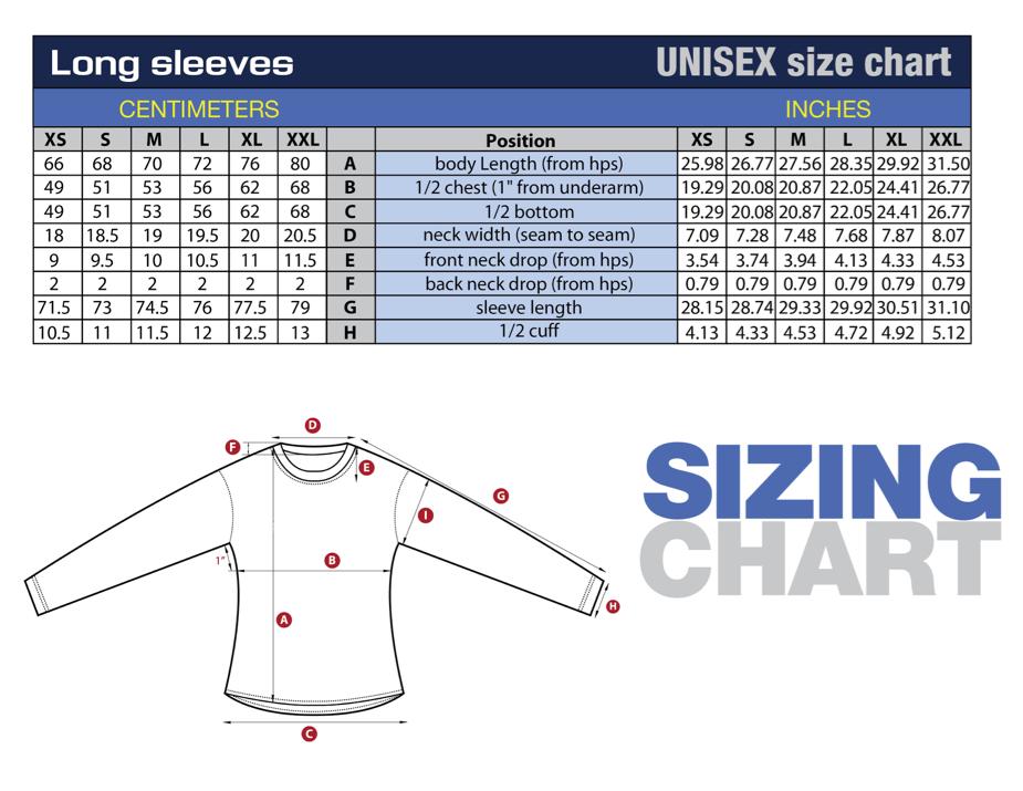 2016 Participant Shirt Size Chart