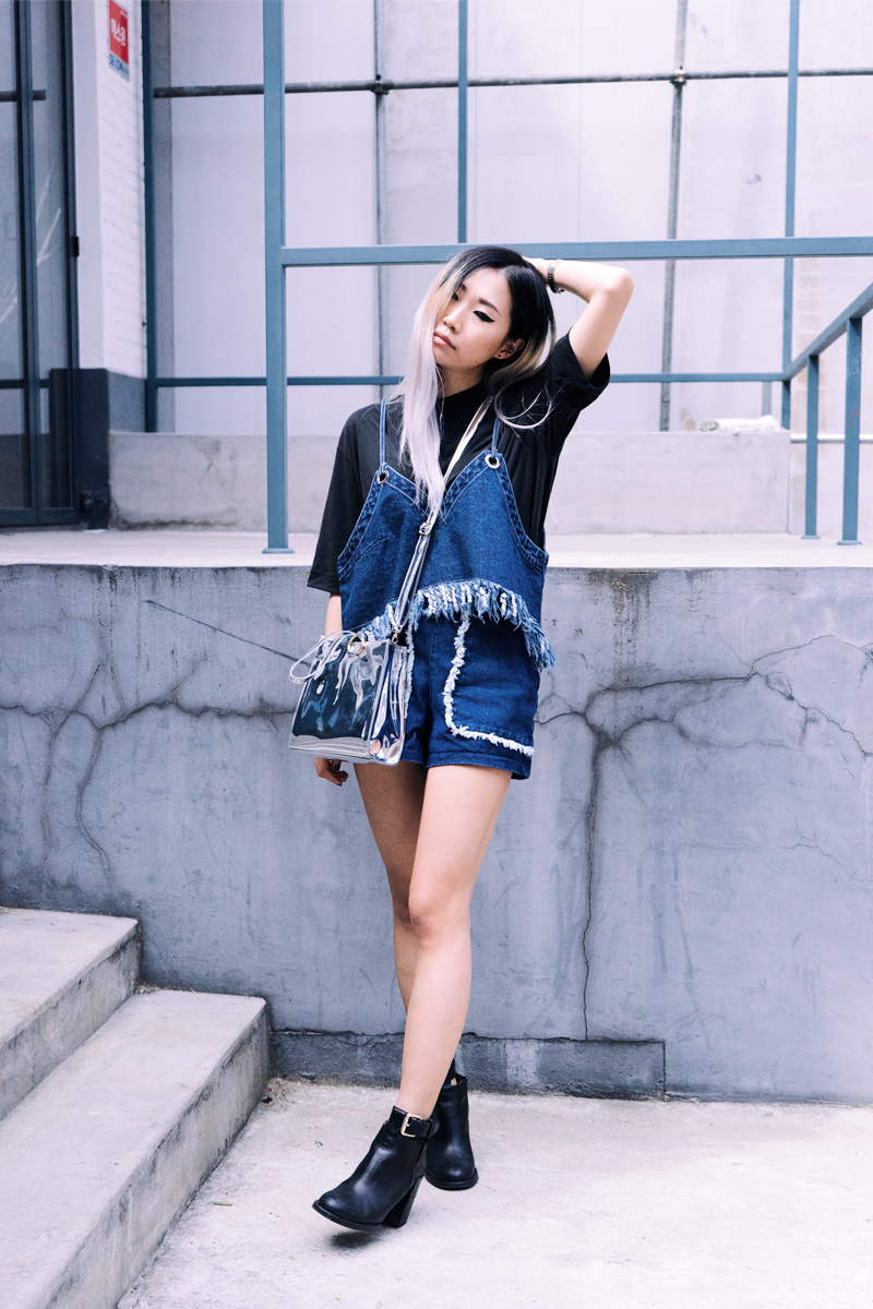 Top: Fringe Denim Top (YOODDSTORE) / Bottom: Festival Denim Shorts (YOODDSTORE) / Bag: Mirror Bag (YOODDSTORE) / Boots: & Other Stories
