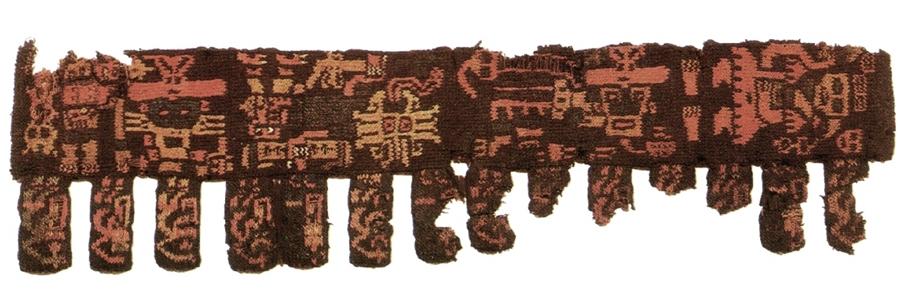 Frammento di un berretto peruviano del periodo   Paracas   con motivi Jacquard.
