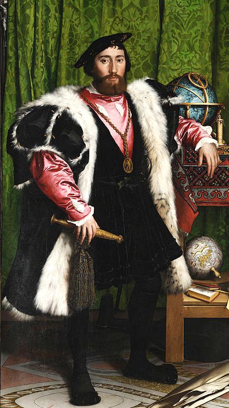 """Holbein  , """"Gli Ambasciatori"""", Particolare; il tipico berretto è fatto a maglia"""