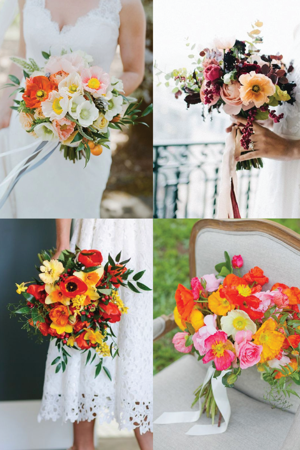 From clockwise, from top left:  flowers by  Alicia K Designs  and photo by  Christina McNeill ; flowers by  Lily Paloma  and photo by  Shannen Natasha ; flowers by  Calie Rose  and photo by  Mere Photo ; flowers by  Flower Talk  and photo by  Angela Higgin .