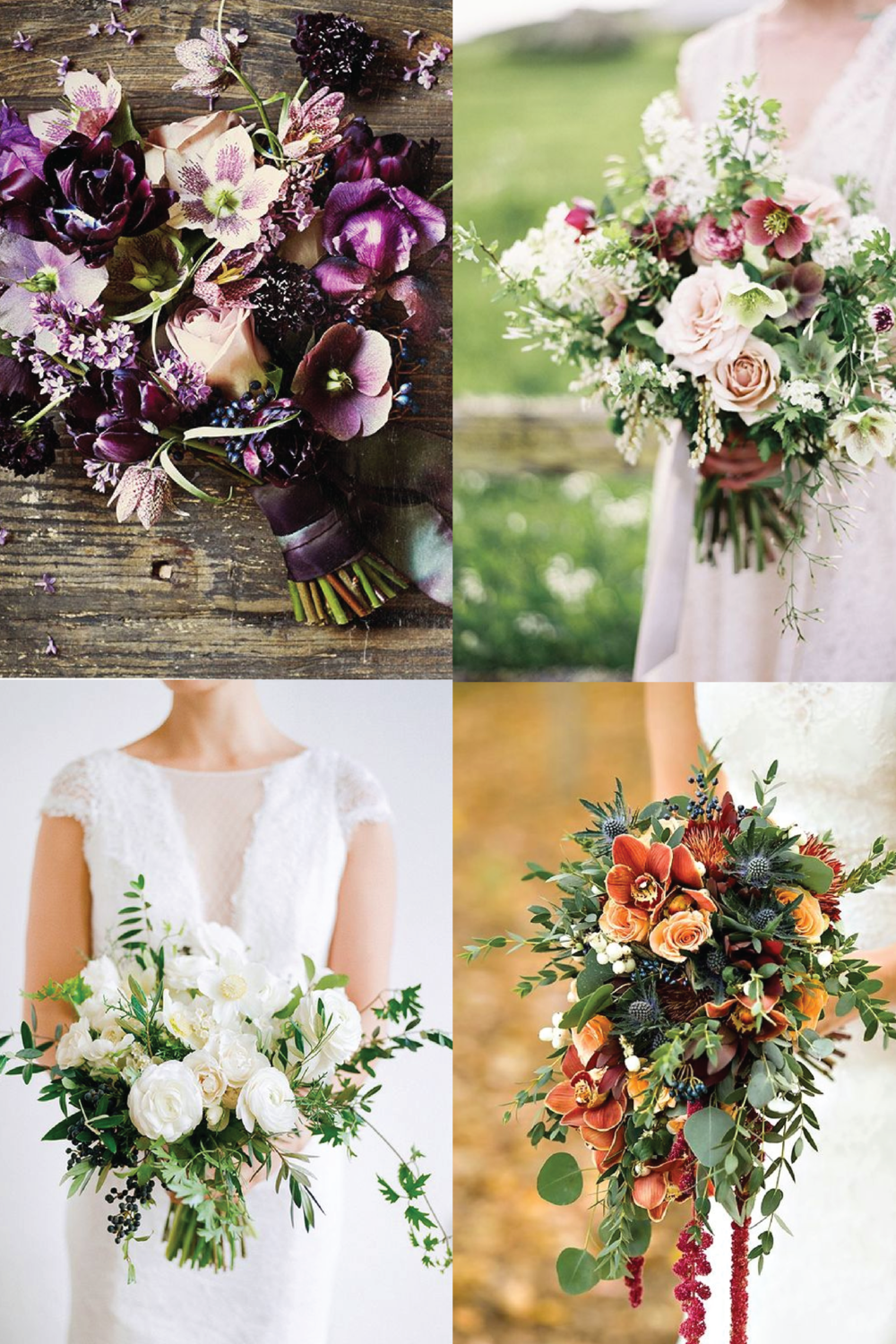 From clockwise, from top left: flowers by Sullivan Owen; flowers by Fleurs by Fallon Shea and photo by Jen Huang; flowers by La Fleuriste and photo by Christina McNeill; flowers by Prestige Floral and photo by Modern Jane Design.