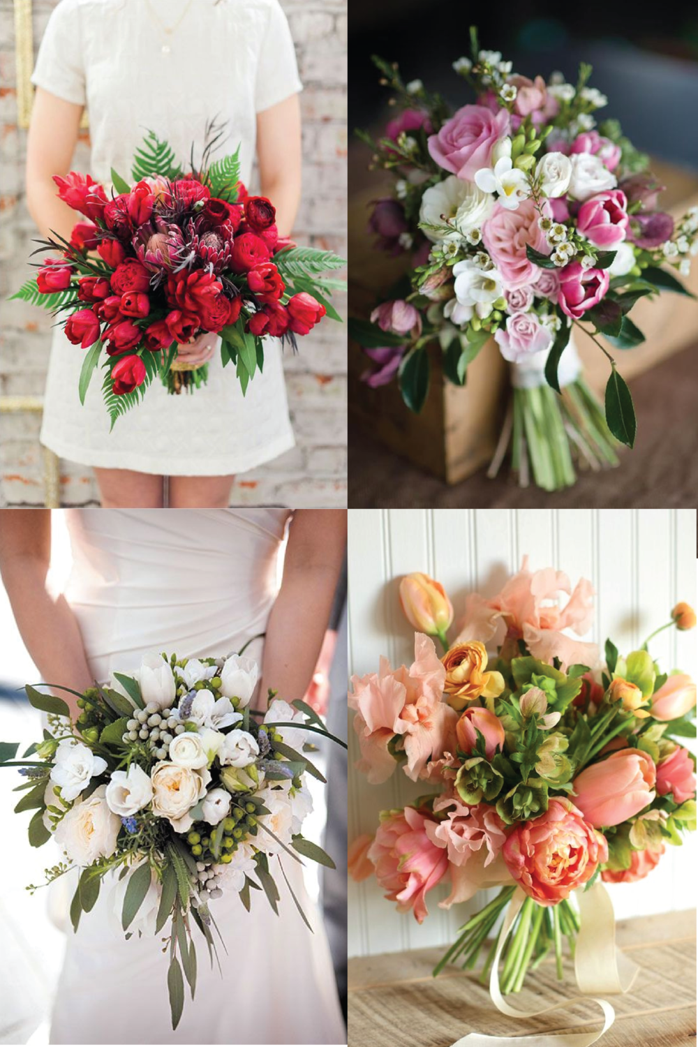From clockwise, from top left: photo by Brittany Lauren; flowers by Magdalen Hill and photo by Natalie McNally; flowers by Love N Fresh Flowers; flowers by Kimball Floral and photo by Tracy Carolyn.