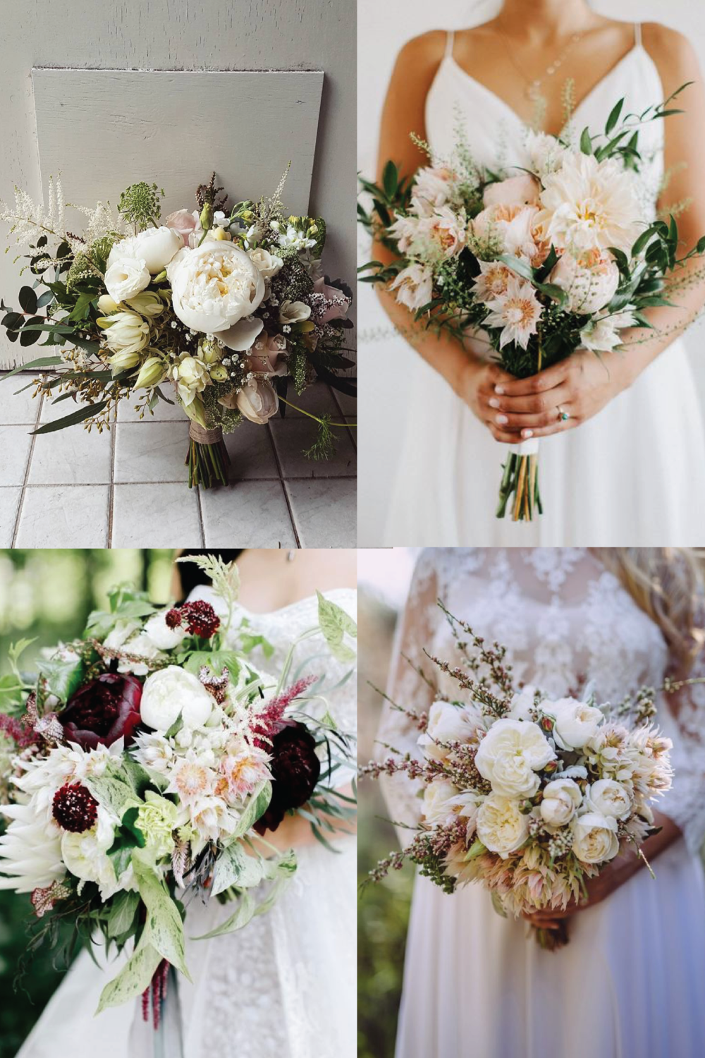 From clockwise, from top left: flowers and photo by Lime Tree Bower; flowers by Sara K Byrne and photo by Dylan M Howell; flowers by Sullivan Owen and photo by Emily Wren Weddings; flowers by Wild Lotus Florist and photo by Kieran Moore.
