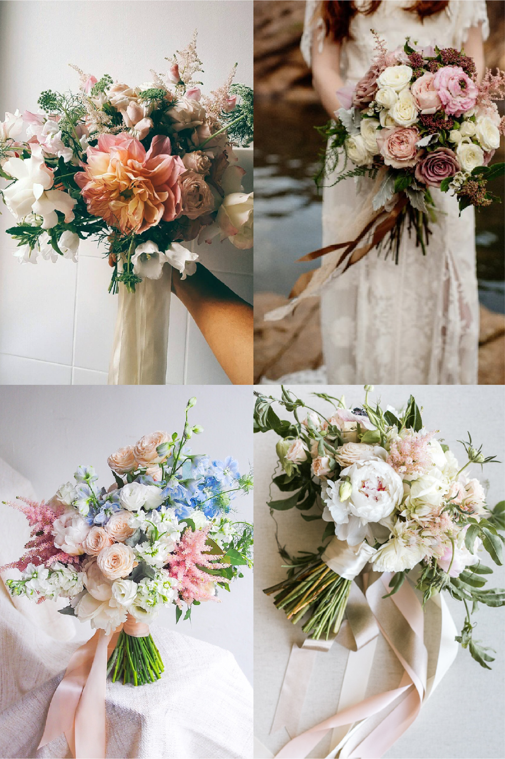 FROM CLOCKWISE, FROM TOP LEFT: FLOWERS BY LIME TREE BOWER ;  FLOWERS BY  POPPY & WILLOW BLOOM PHOTO BY FIONA VAIL PHOTOGRAPHY; FLOWERS BY CHARMED EVENTS GROUP AND PHOTO BY JASMINE LEE; FLOWERS BY  FLORAL MAGIC
