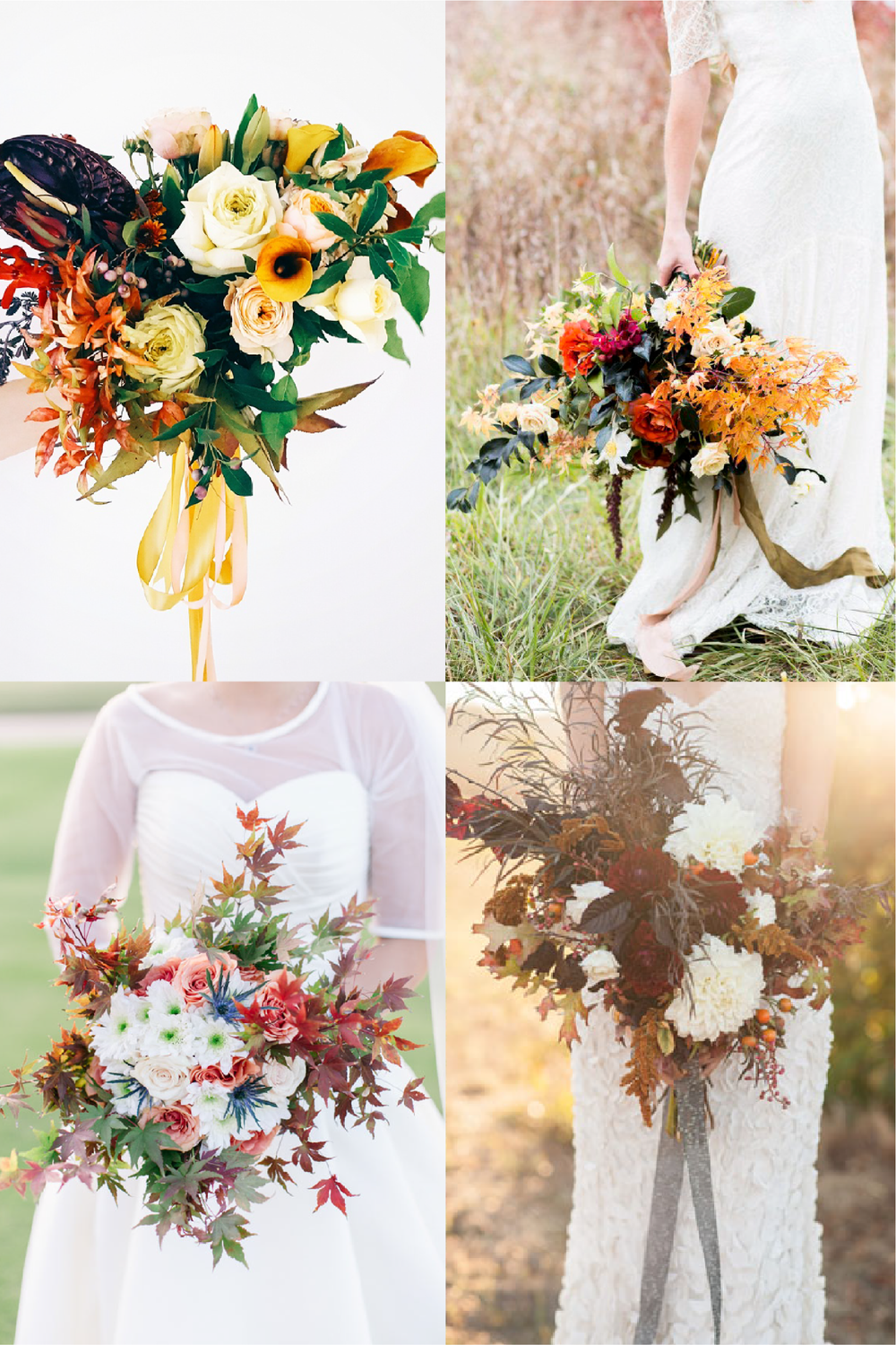 FROM CLOCKWISE, FROM TOP LEFT:  FLOWERS BY  LIME TREE BOWER  ;   PHOTO BY  REVERIE SUPPLY ; FLOWERS BY   AMANDA O'SHANNESSY CREATIVE  AND PHOTO BY  MELANIE DUERKOPP ; FLOWERS BY SUSDAN DIPPER (FAMILY FRIEND OF COUPLE) AND PHOTO BY   JEN + ASHLEY PHOTOGRAPHY .