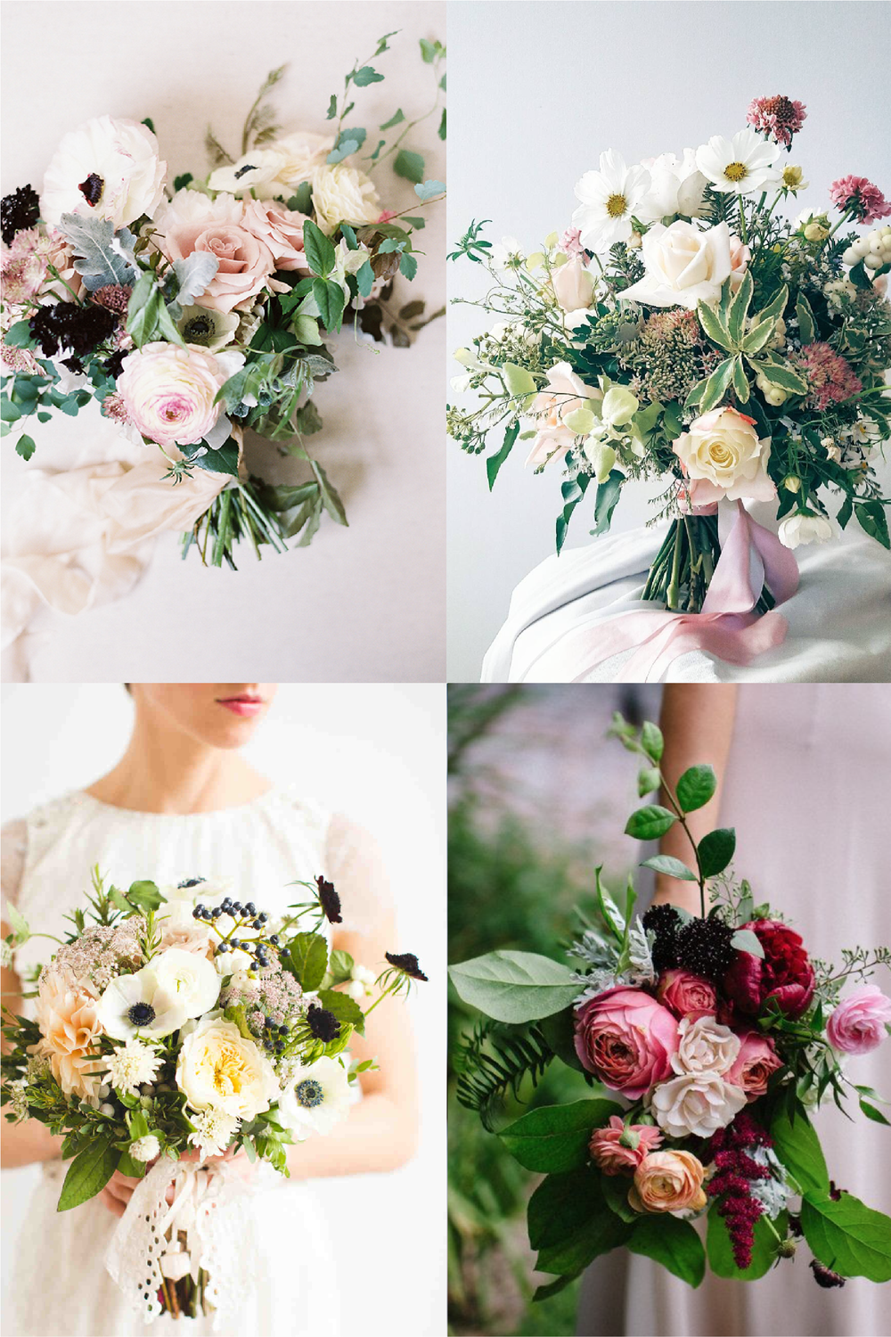 FROM CLOCKWISE, FROM TOP LEFT: FLOWERS BY NEW CREATIONS FLOWER CO. PHOTO BY ALLISON KUHN PHOTOGRAPHY ;  FLOWERS BY LIME TREE BOWER; FLOWERS BY VELVET AND TWINE ; FLOWERS BY  BLOMMA FLORAL AND DESIGN AND PHOTO BY REBECCA WOOD.