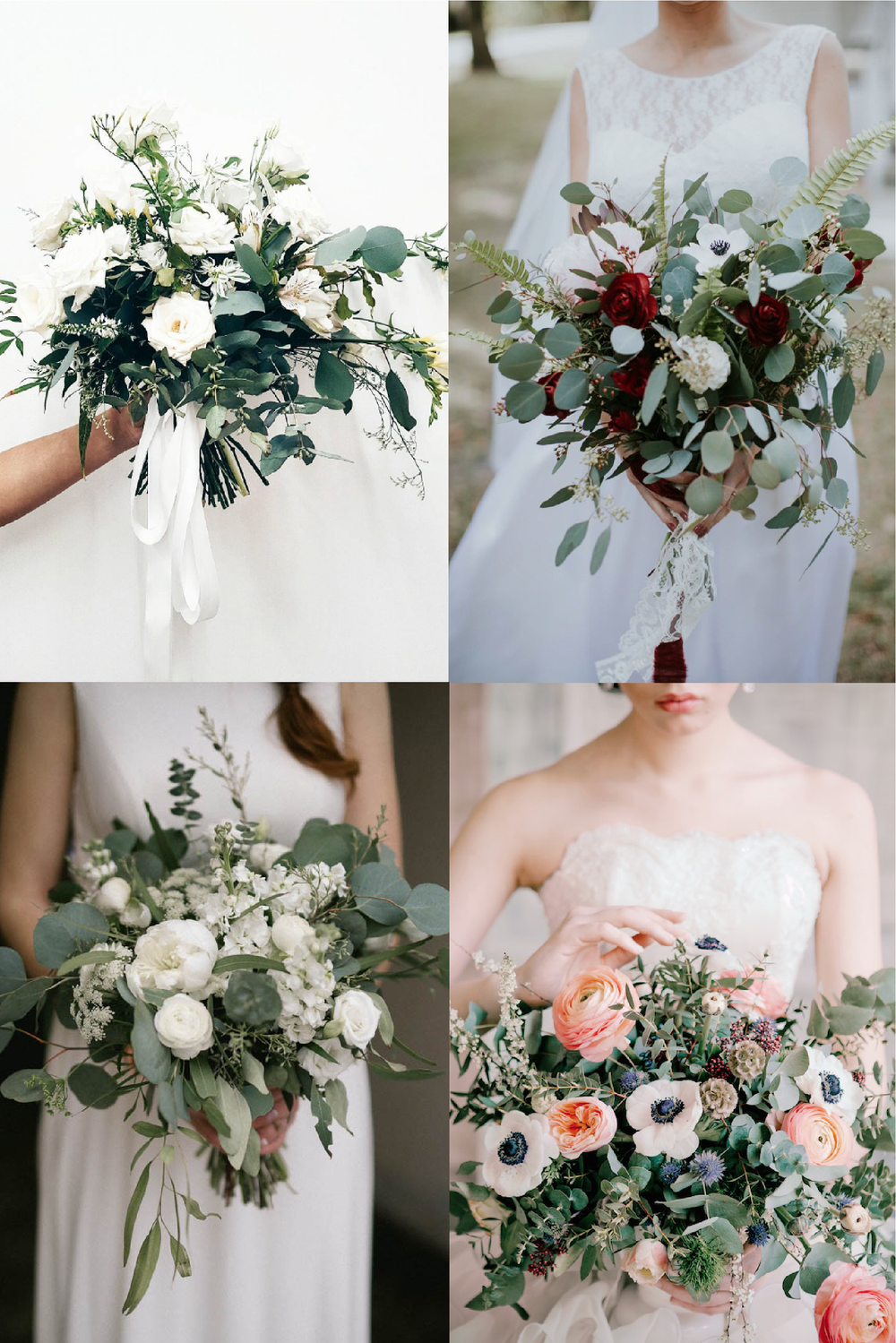 FROM CLOCKWISE, FROM TOP LEFT: FLOWERS BY LIME TREE BOWER ;  FLOWERS BY OH DARLING EVENTS AND PHOTO BY EMILY MAGERS; FLOWERS BY KRISTINA KABERNE AND PHOTO BY  IRINA KLIMOVA; FLOWERS BY  BLOMMA FLORAL AND DESIGN AND PHOTO BY  SALLY O'DONNELL PHOTOGRAPHY.
