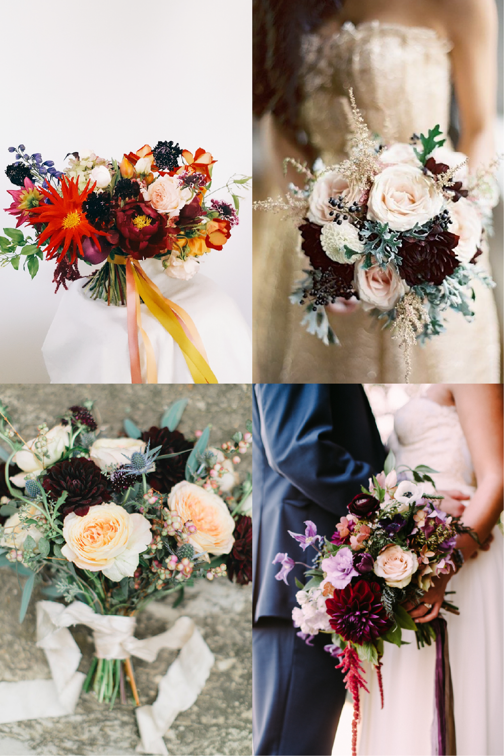 FROM CLOCKWISE, FROM TOP LEFT: FLOWERS BY LIME TREE BOWER ;  PHOTO BY EDWARD OSBORN PHOTOGRAPHY; FLOWERS BY CAROLINE O'DONNELL AND PHOTO BY CAMBRIA GRACE PHOTOGRAPHY; FLOWERS BY  WHIMSICAL FLORAL DESIGN AND PHOTO BY  RACHEL MAY PHOTOGRAPHY.