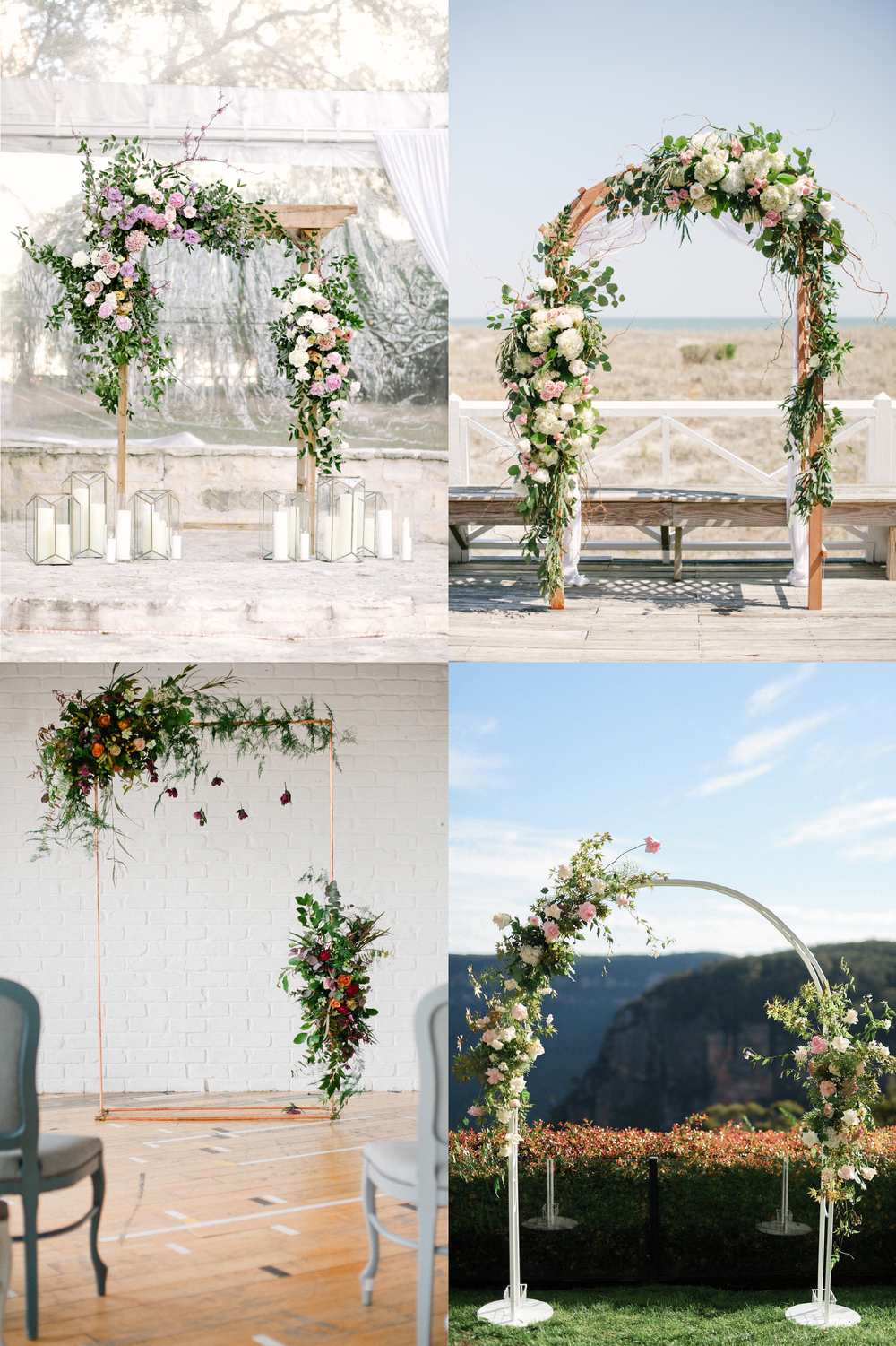 FROM CLOCKWISE, FROM TOP LEFT: Photo by    Julie Wichita Photography , Floral Design by Teresa Gausman of Premiere Events and Photo by  Britt Croft , Floral Design by  Lime Tree Bower  and photo by  girl in the white dress , Floral Design by  Joanne Truby  and Photo by  Anushé Low .