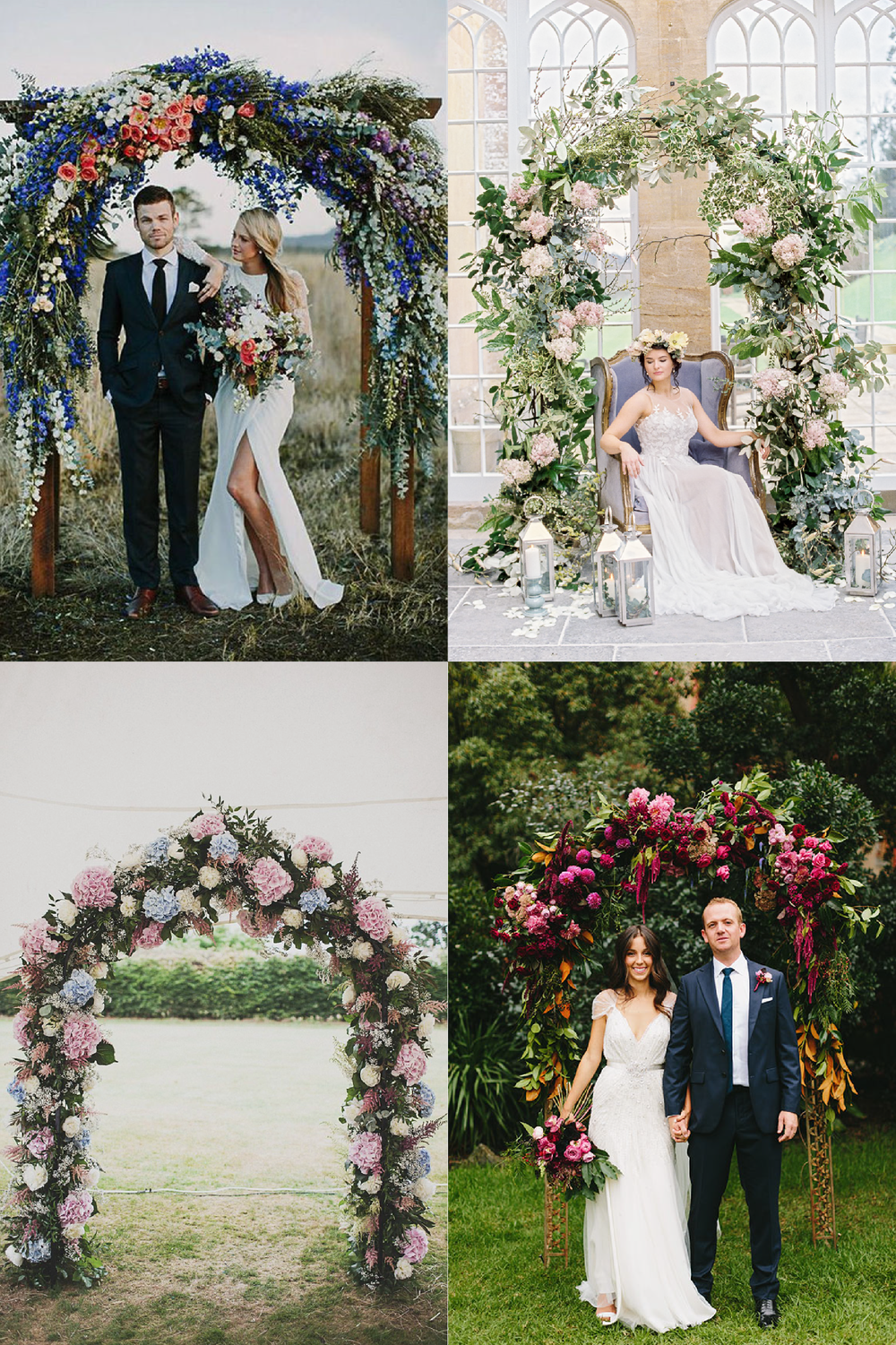 FROM CLOCKWISE, FROM TOP LEFT: Photo source  Pinterest , Floral Design by   Cottage Flowers   Photo by   Liz Baker Photography , Floral Design by   I Heart Flowers  Photo by  Jonathan Ong Photography , Floral Design by  Flowerworx Designer Florist  and Photo by  Anna Hardy .