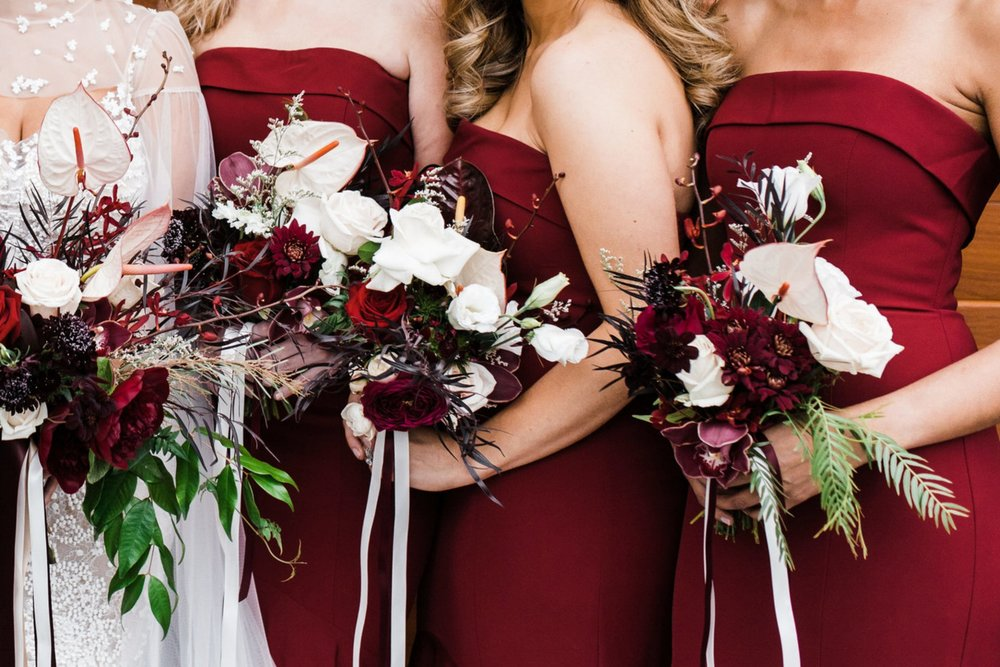 Bridesmaid bouquets - Maids of honour and/or bridesmaids usually hold a bouquet that is similar in style to the bridal bouquet, but slightly smaller and simpler in design. This ensures that the bridal bouquet stands out most, particularly in group photos.