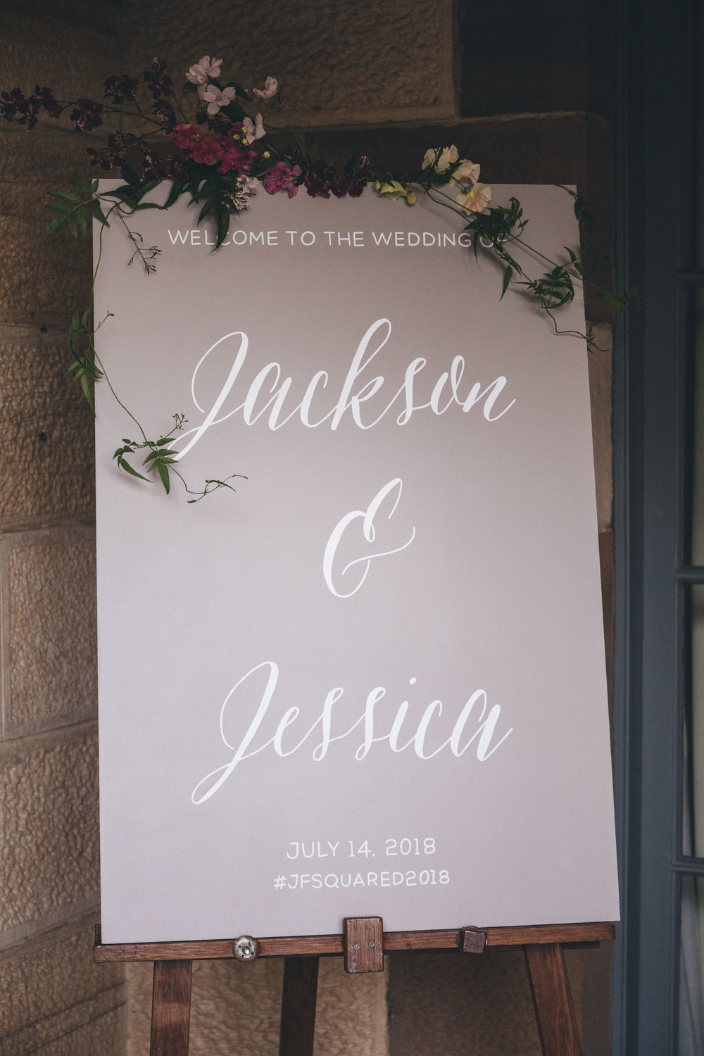 Welcome sign and decor - A personalised welcome sign placed at the ceremony entrance helps create a welcoming invitation to guests, sets the theme for the day, and also ensures that they feel at ease, knowing they're at the right location!
