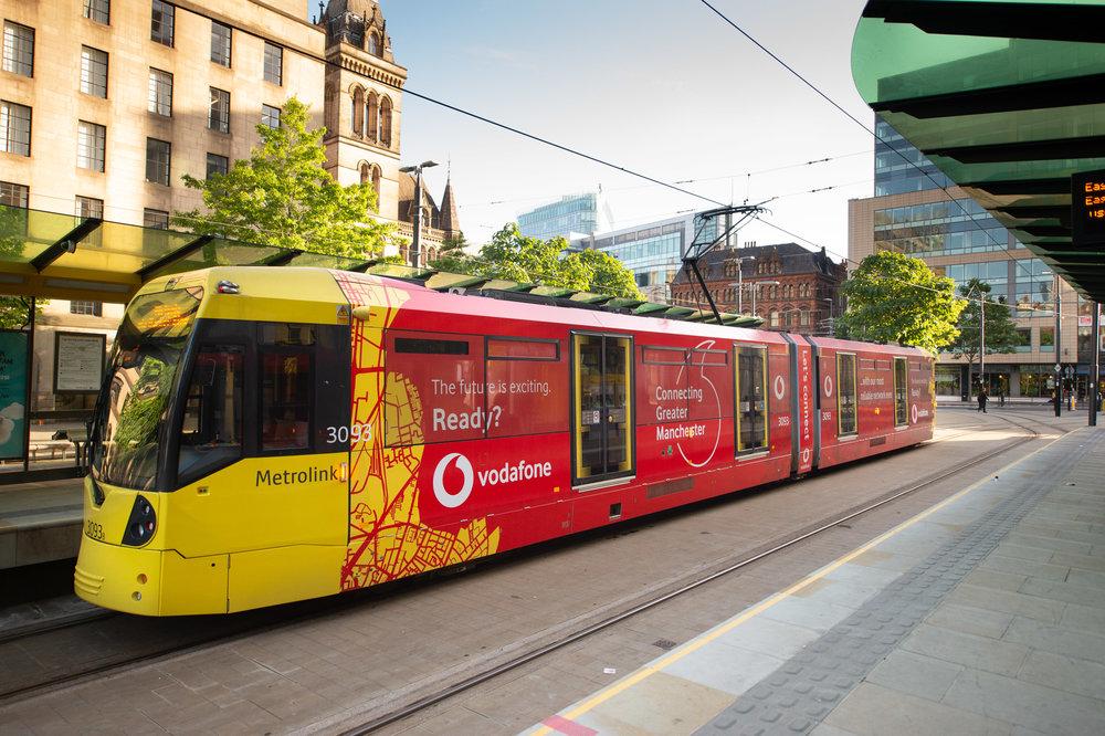 Vodafone wrapped Manchester Metrolink tram