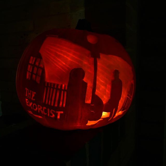 Happy Halloween ya'll #pumkincarving #theexorcist #pumpkin