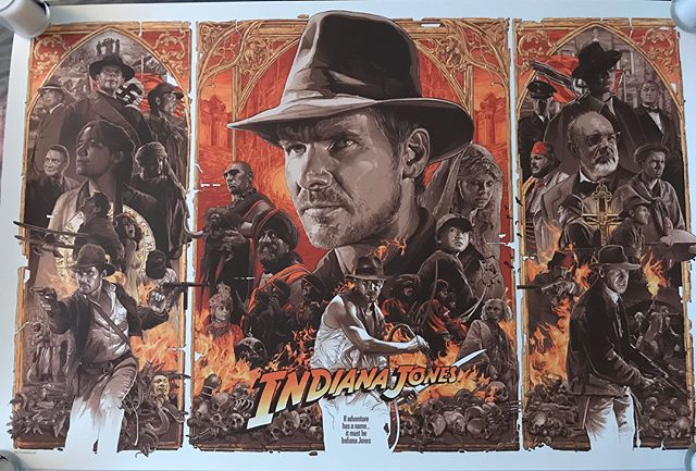 Indiana Jones by the legendary Gabz via @bottleneckgallery #tryptich #alternativemovieposter #indianajones #harrisonford #templeofdoomgrails #gabz