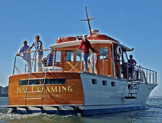 DREAMING   Dreaming is a masterpiece of maritime design and ingenuity that offers a Gatsby-era Salon great for socializing and enjoying views.   Length:  65 feet  Number of Passengers:  42