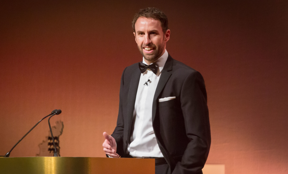 Gareth Southgate speaking in Guernsey last week.