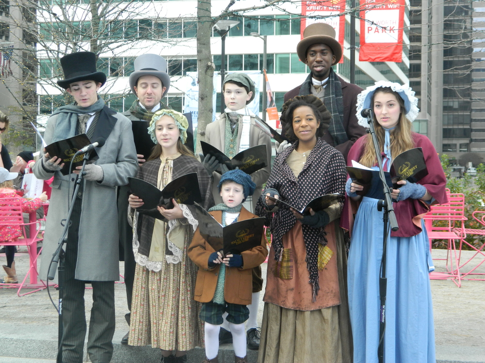 Some members of Walnut Street Theatre's production of  A Christmas Carol  performing at Philadelphia's Christmas Village!