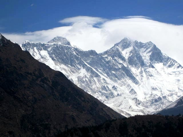 First view of summit of Everest from the trail.