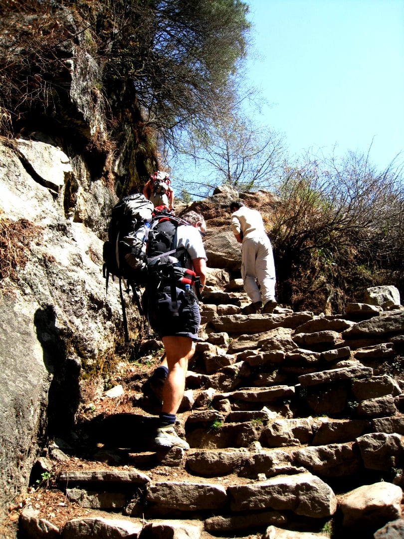 On the trail to Everest base camp in the Khumbu, well worn steps.