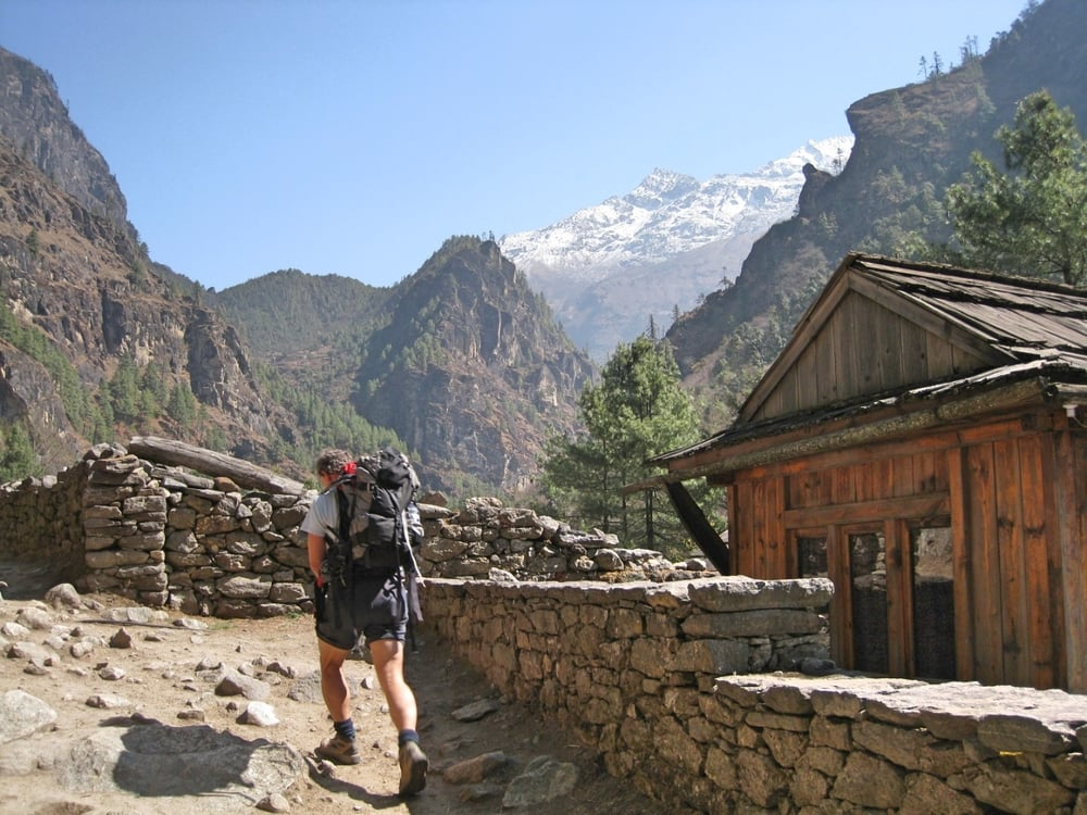 Walking past Monjo on the trail up to Namche Bazaar.